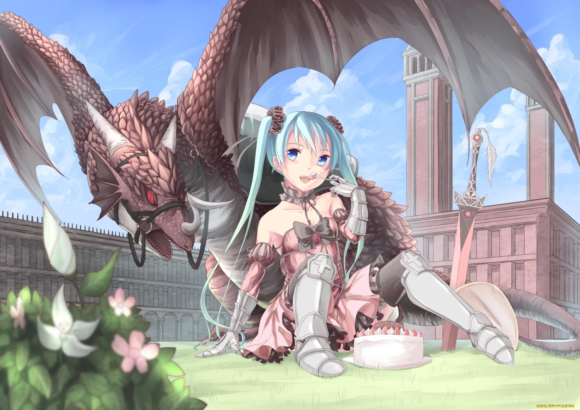 Приколы, картинки девушка с драконом аниме