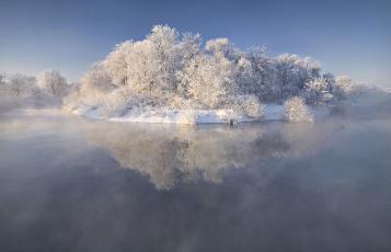 Картинка природа реки озера иней река деревья