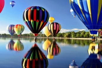 обоя авиация, воздушные шары, река, шары, отражение