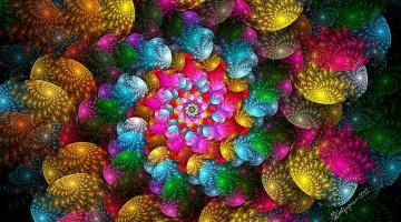 обоя 3д графика, фракталы , fractal, Яркий, красочный, спиральный, абстрактный, рисунок