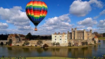 обоя авиация, воздушные шары, замок, река, шар