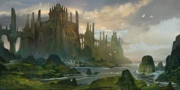 Картинка фэнтези замки арт пейзаж другой мир замок