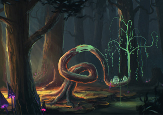 обоя фэнтези, призраки, арт, дух, лес, грибы, деревья