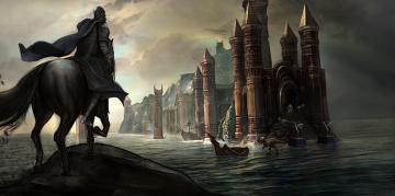 обоя фэнтези, замки, замок, доспехи, рыцарь, мир, иной, всадник, существа, динозавры