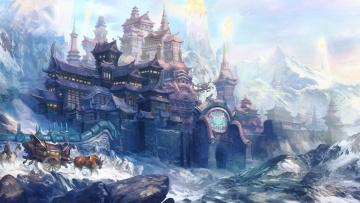 обоя фэнтези, замки, животные, горы, холод, скалы, арт, повозка, снег