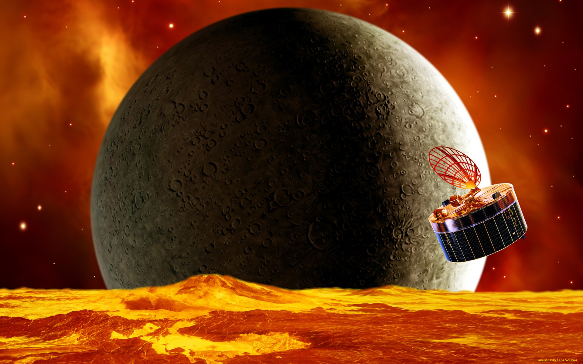 Обои огненная планета картинки на рабочий стол на тему Космос - скачать  № 433830 бесплатно
