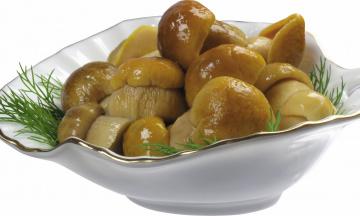 Картинка еда грибы грибные блюда маринованные тарелка