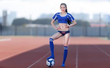 Картинка спорт футбол девушка мяч азиатка
