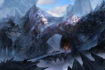 обоя фэнтези, пейзажи, арт, мост, плащи, люди, всадник, снег, храм, скалы, холод