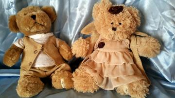 обоя разное, игрушки, медвежата, нарядные