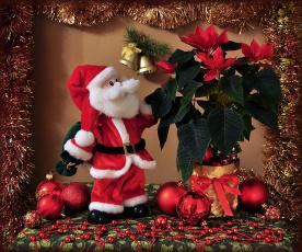 обоя праздничные, дед мороз,  санта клаус, мишура, клаус, пуансеттия, санта, шарики
