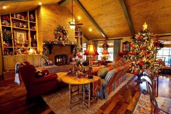 обоя праздничные, Ёлки, украшения, камин, гостиная, елка