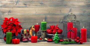 обоя праздничные, новогодние свечи, свечи, пуансеттия, шарики