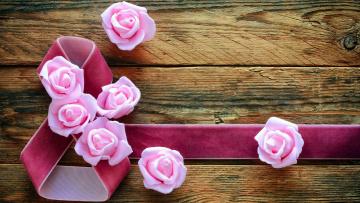обоя праздничные, международный женский день - 8 марта, розы, лента