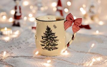 обоя праздничные, угощения, елка, кружка, какао, бант