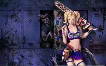 Картинка lollipop chainsaw видео игры juliet starling бензопила зомби девушка