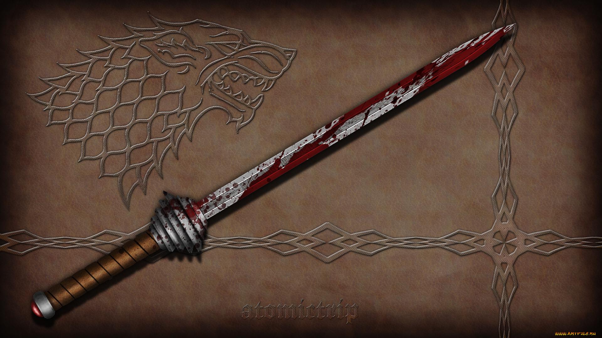 оружие, 3d, меч, кровь, узор