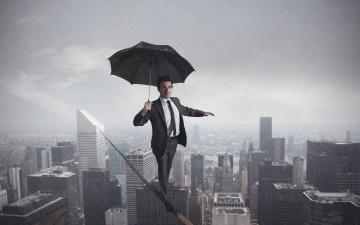 Картинка юмор+и+приколы канат мужчина пропасть дождь зонт город