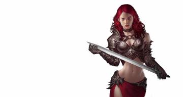 обоя фэнтези, девушки, оружие, минимализм, меч, воин, двушка