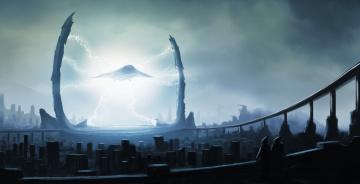 Картинка фэнтези иные+миры +иные+времена арт город корабль портал молнии