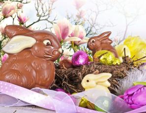 обоя праздничные, пасха, шоколадный, заяц, яйцо, гнездо, лента, цветы