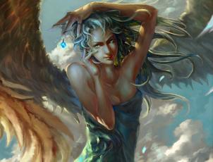 обоя фэнтези, ангелы, женщина, крылья, облака