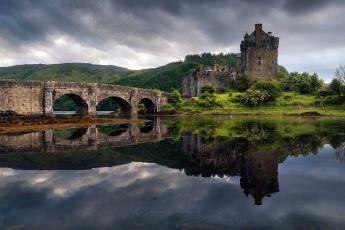 обоя города, запор эйлен-донан , шотландия, остров, весна, замок, мост, отражение, эйлен-донан, в