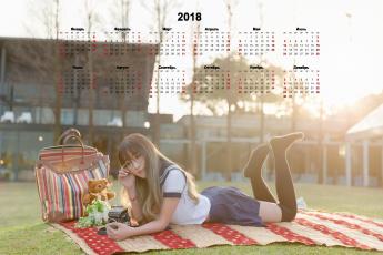 обоя календари, девушки, фотоаппарат, мишка, очки, плед, игрушка, сумка