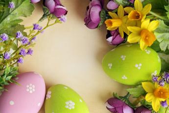 обоя праздничные, пасха, цветы, яйцо, нарцисс