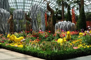 обоя сингапур, разное, садовые равным образом парковые скульптуры, цветы, растения