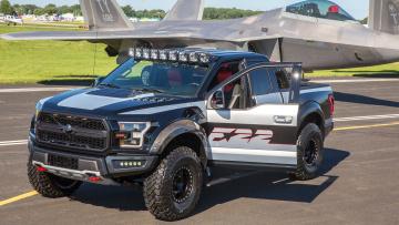 обоя ford f-150 raptor f-22 2017, автомобили, ford, самолёт, 2017, f-150, raptor, f-22