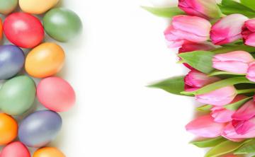 обоя праздничные, пасха, тюльпаны, яйцо