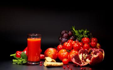 обоя еда, напитки, сок, сок, гранат, перец, помидоры, фрукты, зелень, стакан, апельсиновый, виноград