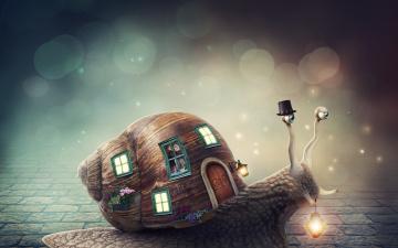 обоя фэнтези, фотоарт, цветы, окна, улитка, шляпа, фонарь, домик