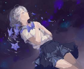 Картинка аниме *unknown+ другое девушка вода арт юбка рубашка лепестки цветы