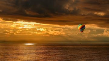 обоя авиация, воздушные шары, камчатка, лето, закат, свет, тучи, берингово, море, воздушный, шар, евгений, паршуков