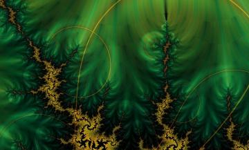 Картинка 3д графика fractal фракталы тёмно-зеленый фон круги линии