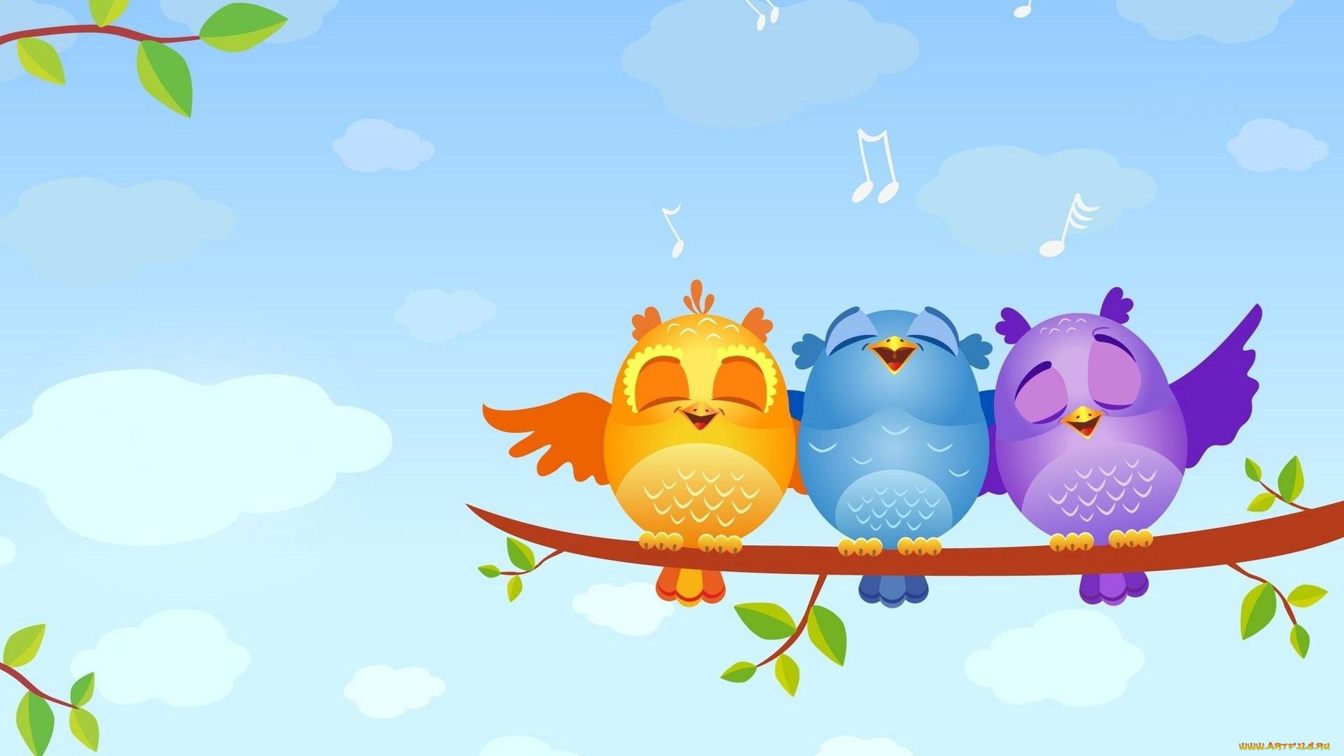 Открытки птички поют, для малыша картинках