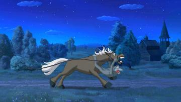 Картинка мультфильмы иван+царевич+и+серый+волк+2 лошадь волк дорога здание природа