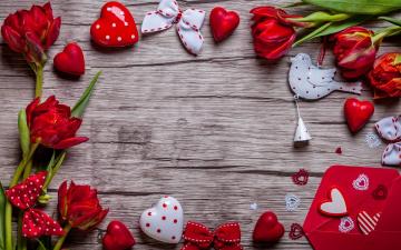 обоя праздничные, день святого валентина,  сердечки,  любовь, valentine`s, day, love, heart, red, gift, tulips, тюльпаны, romantic
