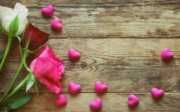 обоя праздничные, день святого валентина,  сердечки,  любовь, romantic, pink, wood, roses, сердечки, love, розы