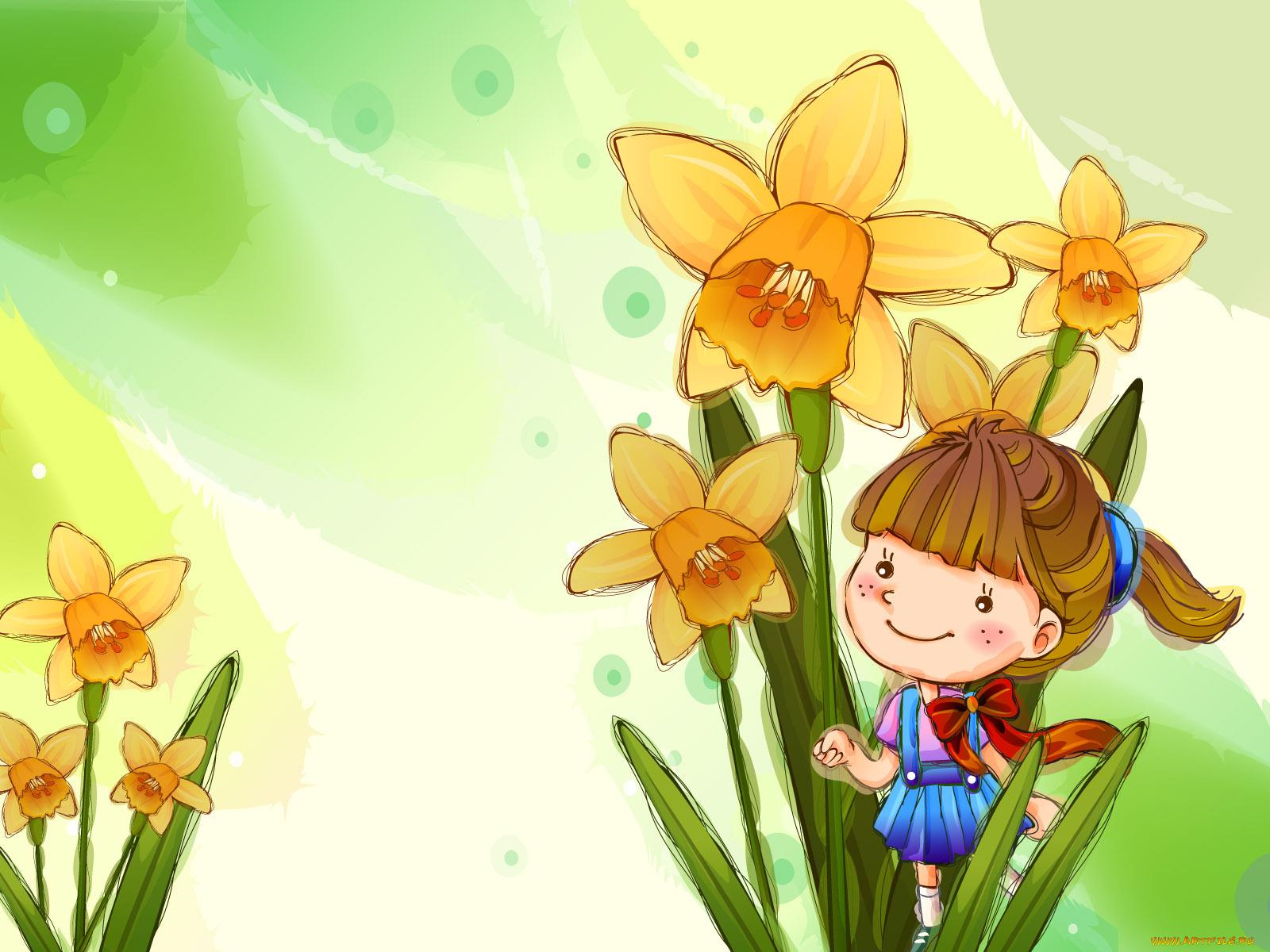 Весенние детские открытки, поздравление днем