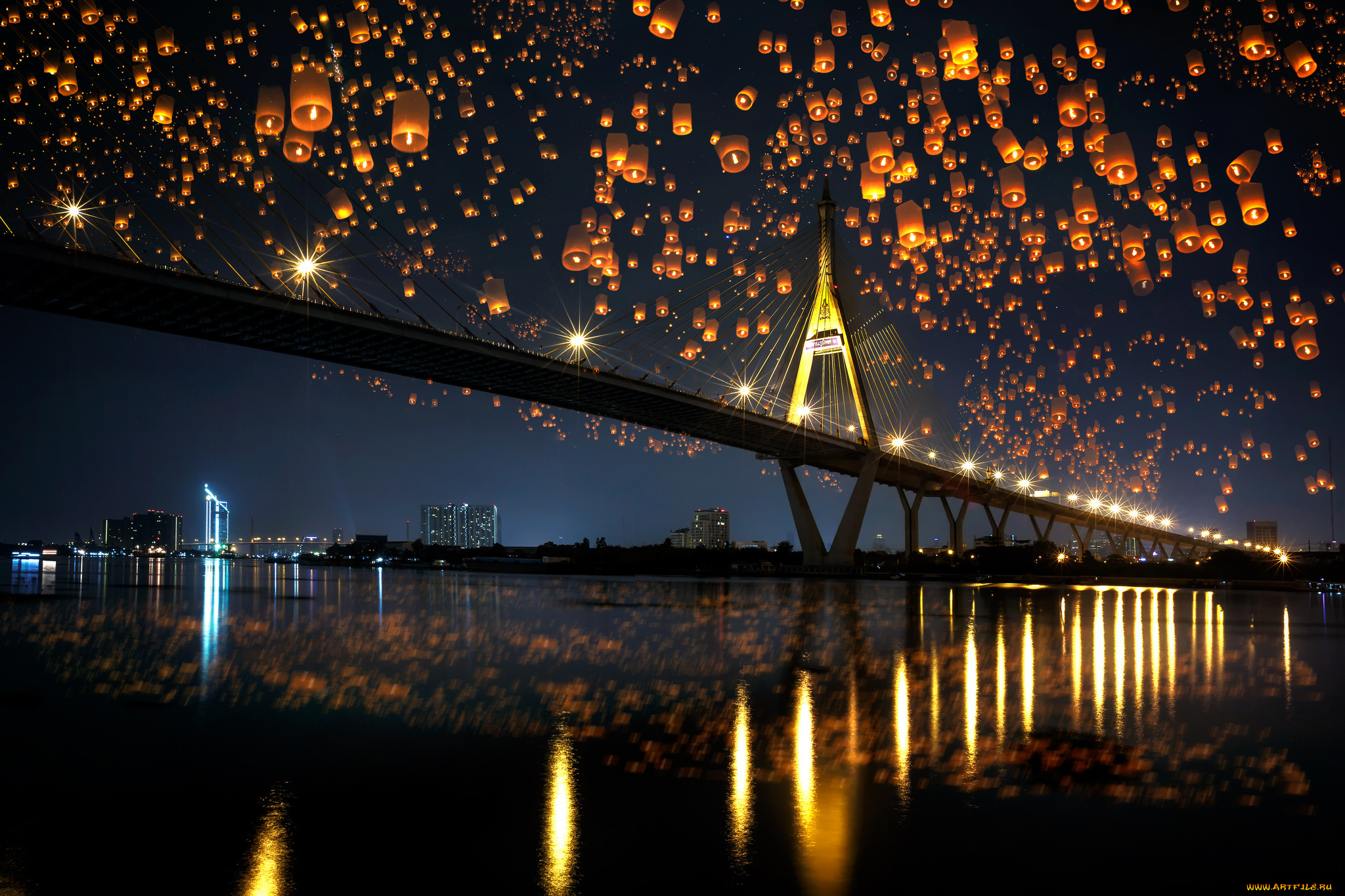 мост огни свечение ночь  № 3369503  скачать