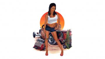 Картинка рисованное люди автомобиль девушка фон взгляд