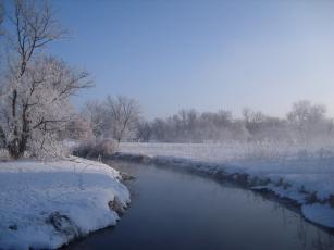 Картинка природа зима снег река утро