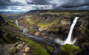 Картинка природа водопады поток горы тучи