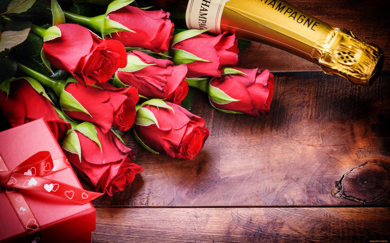 Открытки днем, открытки с днем рождения розы и шампанское