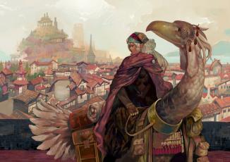 Картинка аниме животные +существа onion and pi-natto арт эльф накидка птица наездник небо путешественник город