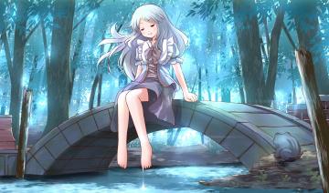 Картинка аниме unknown +другое река лес сидит девушка мост листья деревья вода лягушка арт risutaru