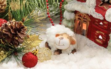 Картинка праздничные фигурки sheep new year happy 2015 овечка украшения новый год decoration
